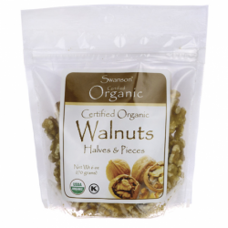 Certified Organic Walnuts, Halves & Pieces, 6 oz (170 grams) Pkg