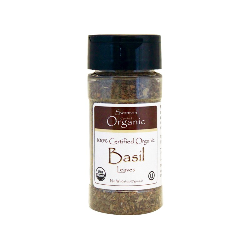 100 Certified Organic Basil Leaves, 0.6 oz (17 grams) Flakes