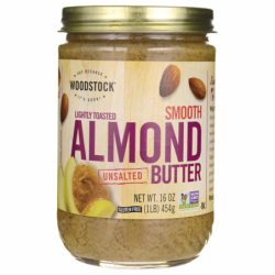 Lightly Toasted Smooth Unsalted Almond Butter, 16 oz (454 grams) Jar