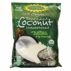 100 Organic Finely Shredded Coconut  Unsweetened, 8 oz Pkg