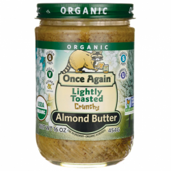 Organic Lightly Toasted Crunchy Almond Butter, 16 oz (454 grams) Jar