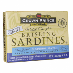 Wild Caught Brisling Sardines in Water, 3.75 oz Can