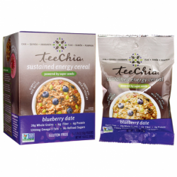 TeeChia Sustained Energy Cereal  Blueberry Date, 6 / 1.76 oz (50 grams) Pkts