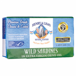 Wild Sardines in Extra Virgin Olive Oil, 4.25 oz (120 grams) Can