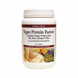 Vegan Protein Factors Vanilla Bean, 12 oz Pwdr