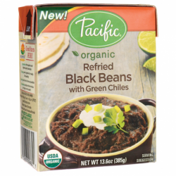 Organic Refried Black Beans with Green Chiles, 13.6 oz (385 grams) Pkg