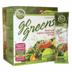 Go Greens Powder Drink Mix  Green Apple Flavor, 24 Pkts