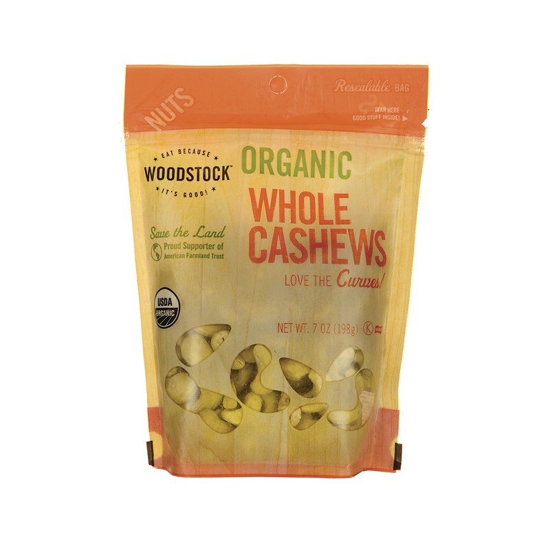 Organic Whole Cashews, 7 oz Pkg