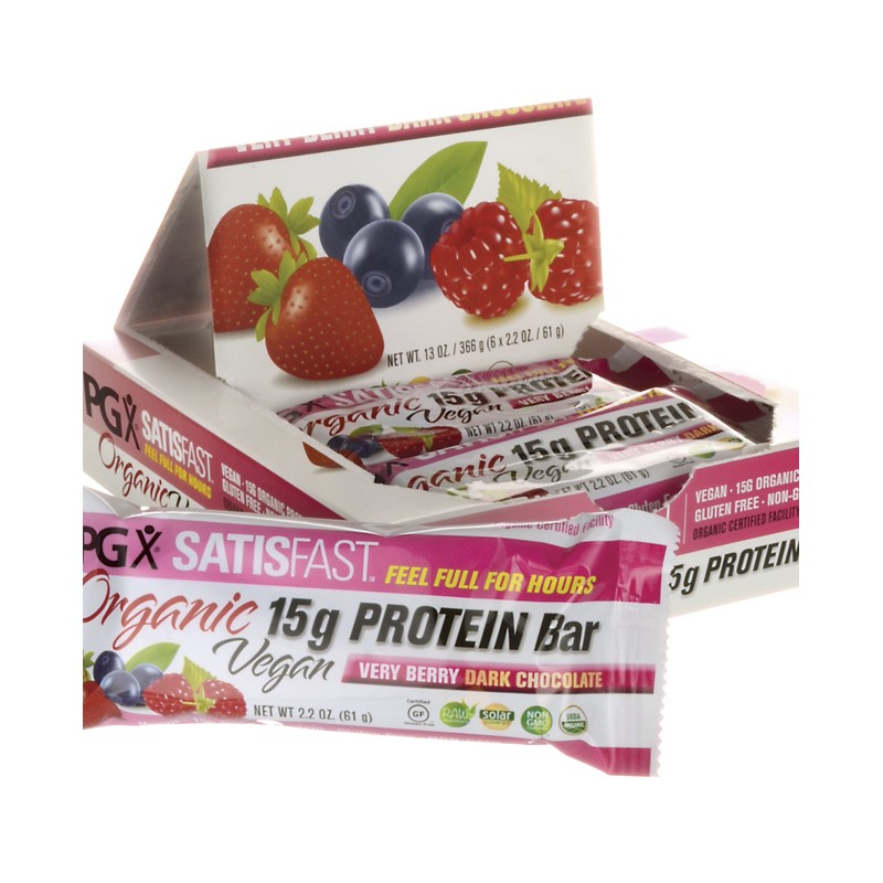 PGX Satisfast Protein Bar  Very Berry Dark Chocolate, 6/2.2 oz Bar(s)