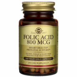 Folic Acid, 800 mcg 100 Veg Caps