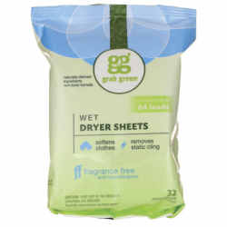 Wet Dryer Sheets  Fragrance Free, 32 Ct