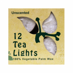 Palm Wax Tea Light Candles White Unscented, 12 Pack(s)