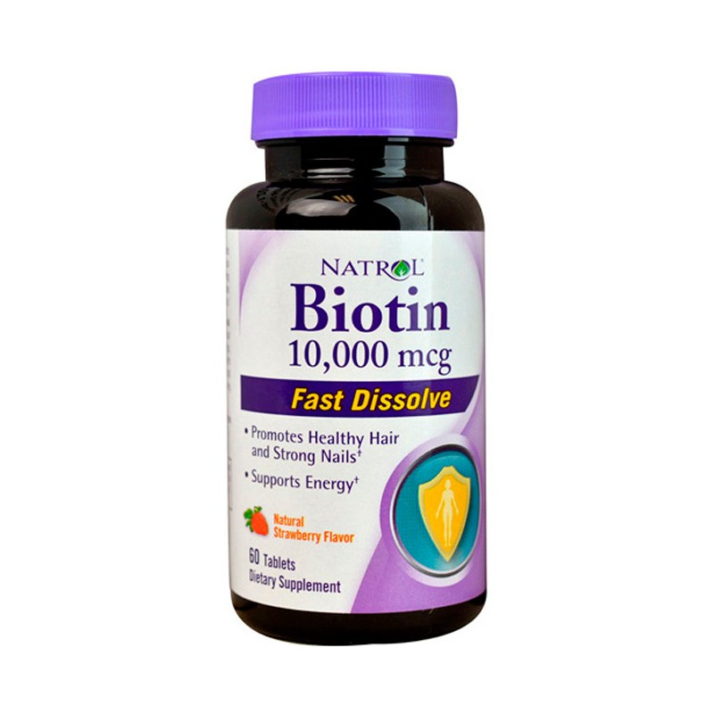 Biotin Fast Dissolve  Natural Strawberry Flavor, 10,000 mcg 60 Tabs