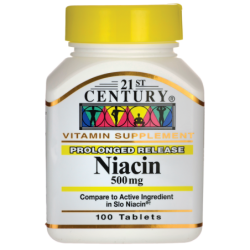 Prolonged Release Niacin, 500 mg 100 Tabs