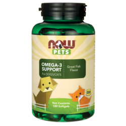 NOW Pets Omega3 Support For DogsCats, 180 Sgels