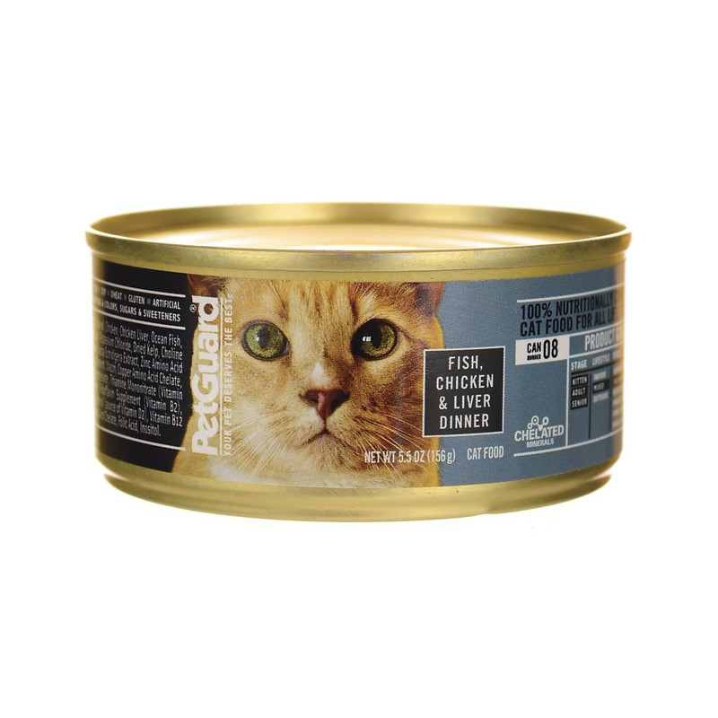 Canned Cat Food Fish, Chicken & Liver Dinner, 5.5 oz Can