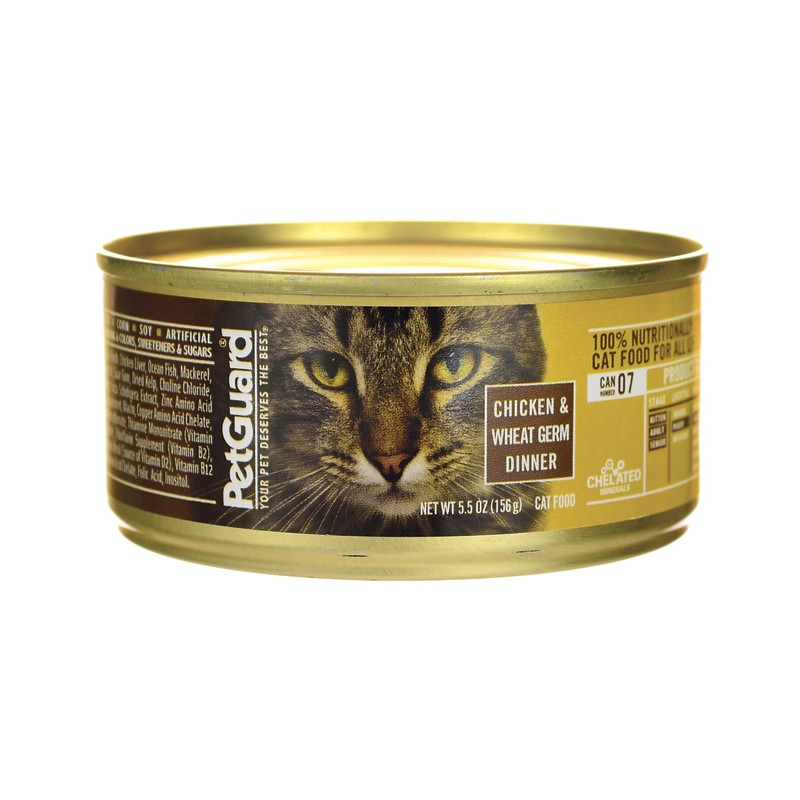 Canned Cat Food Chicken & Wheat Germ Dinner, 5.5 oz Can