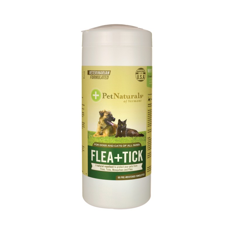 Flea  Tick PreMoistened Towelettes, 60 Ct
