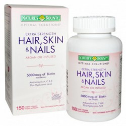 Optimal Solutions, Hair, Skin & Nails, Extra Strength, 150 Rapid Release Liquid Softgels By Nature s Bounty