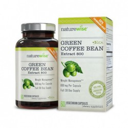 Green Coffee Bean Extract 800 with GCA Natural Weight Loss Supplement, 60 Veg Caps by NatureWise
