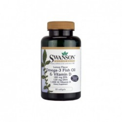 Lemon Flavor Omega-3 Fish Oil & Vitamin D, 180mg EPA 120mg DHA 1000 IU 60 Sgels by Swanson Premium