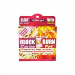 Double Diet Block Carbs Burn Fat with White Kidney Bean Extract, 20 Tablets by Applied Nutrition