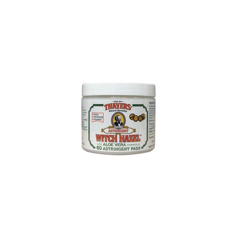 Witch Hazel With Aloe Vera, 60 Pads by Thayers Natural Remedies