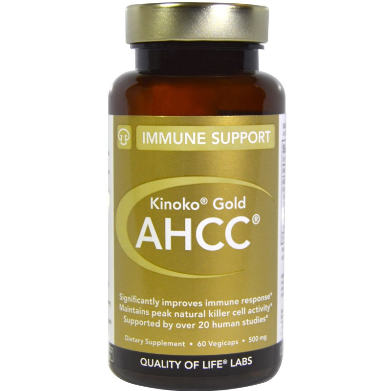 Kinoko Gold AHCC, Immune Support, 500 mg, 60 Veggie Caps By Quality of Life Labs