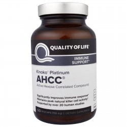 Kinoko Platinum AHCC, Immune Support, 750 mg, 60 Veggie Caps By Quality of Life Labs
