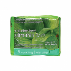 Chlorine Free UltraThin Pads Super Long with Wings, 16 Ct