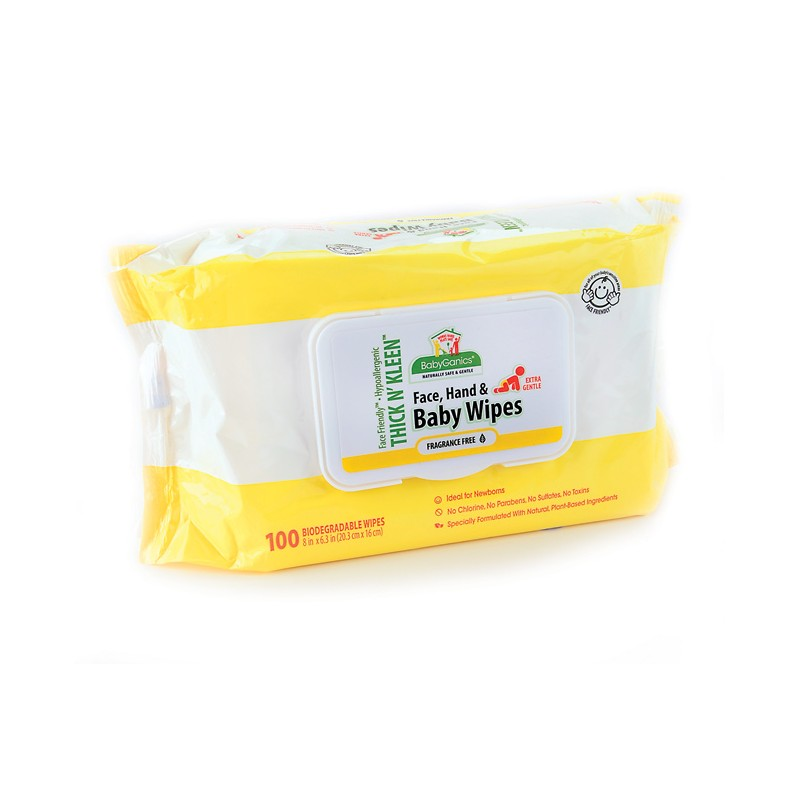 Thick N Clean Face, Hand & Baby Wipes  Fragrance Free, 100 Wipes