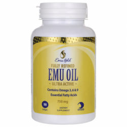 Fully Refined Emu Oil Ultra Active, 750 mg 90 Sgels