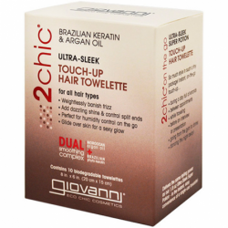 2Chic UltraSleek TouchUp Hair Towelette AvocadoOlive Oil, 10 Ct
