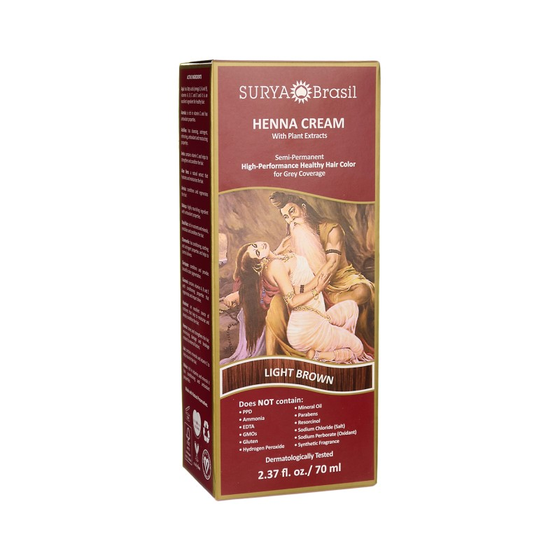 Henna Cream With Plant Extracts Hair Color  Light Brow, 1 Box