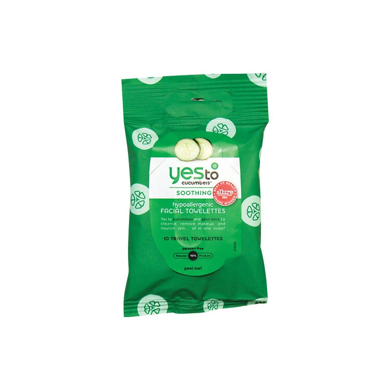 Yes To Cucumbers Hypoallergenic Facial Towelettes, 10 Ct