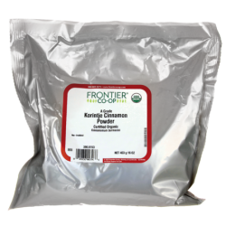 Certified Organic Grade A Korintje Cinnamon Powder, 16 oz (453 grams) Pkg