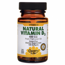Natural Vitamin D3, 400 IU 100 Sgels