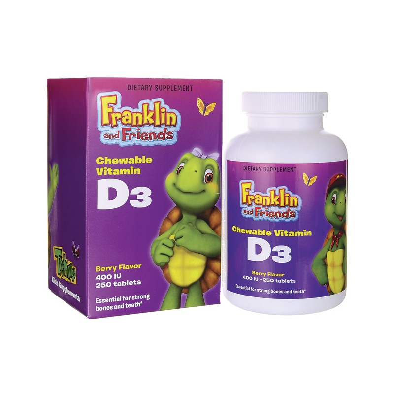 Franklin and Friends Vitamin D3  Berry Flavor, 400 IU 250 Chwbls