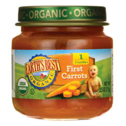 Organic Baby Food Stage 1  First Carrots, 2.5 oz (71 grams) Jar