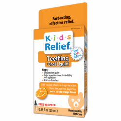 Kids Relief Teething Oral Liquid  Orange Flavor, 0.85 fl oz (25 mL) Liquid