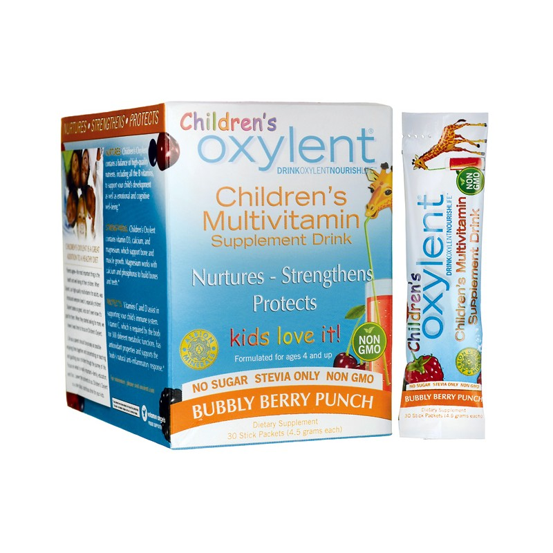Oxylent Childrens Multivitamin Drink Bubbly Berry Punch, 30 Pkts