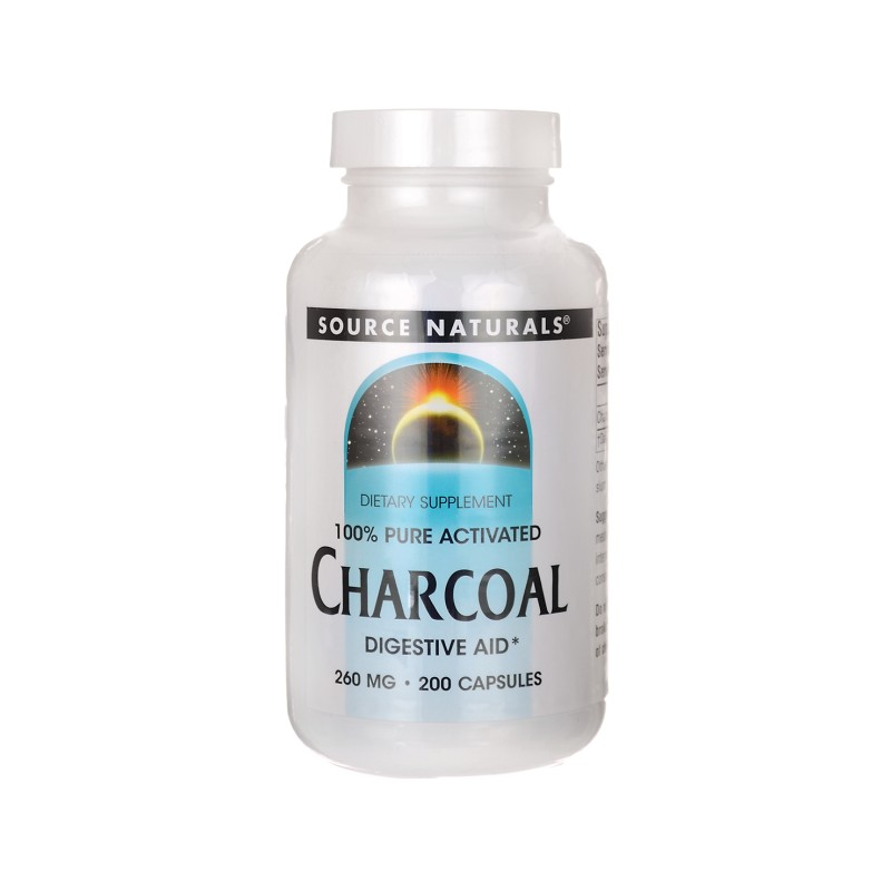 100 Pure Activated Charcoal, 260 mg 200 Caps