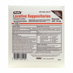 Bisacodyl  Laxative Suppositories, 10 mg 100 Ct