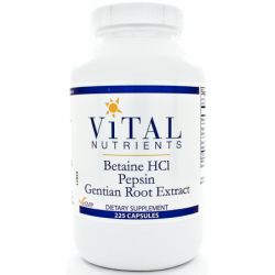 Betaine HCL Pepsin & Gentian Root Extract, 225 Caps